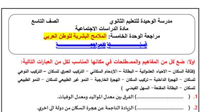 Photo of مراجعة الوحدة الخامسة الملامح البشرية للوطن العربي دراسات اجتماعية صف تاسع فصل ثاني