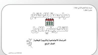 Photo of مراجعة للاختبار التكويني دراسات اجتماعية صف رابع فصل ثاني