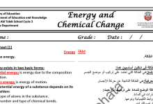 Photo of ملخص وأوراق عمل الطاقة والتغيرات الكيميائية كيمياء صف ثاني عشر متقدم فصل ثاني