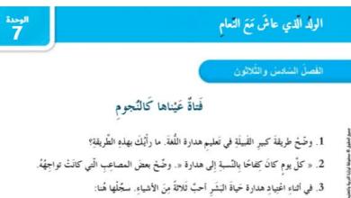 Photo of حل الفصل السادس والثلاثون فتاة عيناها كالنجوم (الولد الذي عاش مع النعام )