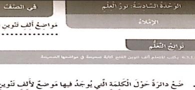 حل درس مواضع ألف تنوين الفتح لغة عربية للصف الرابع الفصل الدراسي الثالث العام الدراسي 2019-2020