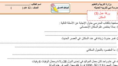 Photo of ورقة عمل السكان مع الحل أحياء صف ثاني عشر