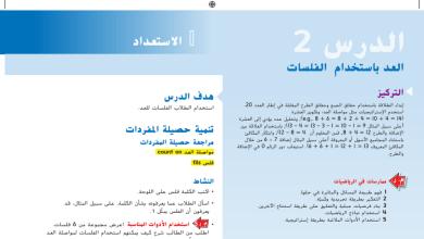 Photo of حل درس العد باستخدام الفلسات رياضيات صف أول فصل أول