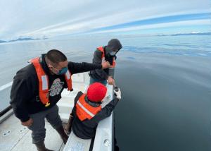 Collecting water samples near Kake, AK.