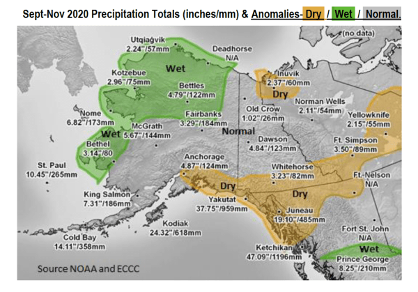 Sept - Nov 2020 Precipitation Totals (inches/mm) & Anomalies