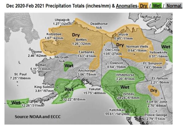 Dec 2020 - Feb 2021 Precipitation Totals (inches/mm) and Anomalies