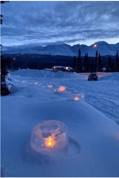 The community of Haines Junction welcomed Team Togo with hundreds of ice candles lining the Alaska Highway. Text & Photos Credit: K.H., Yukon, Community Services.