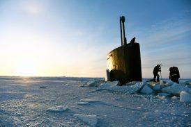 submarine coming up through ice