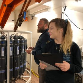Chemical Oceanographer Mats Granskog and PhD Student Channing Bolt checking the readiness of the rosette.