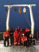 The Magnificent Mooring Team: (l-r, front row) Co-Chief Scientist Rob Rember, Chemical Oceanographer Jens Hölemann, (l-r, back row) Mooring Leader Ian Waddington, Physical Oceanographers Markus Janout and Sandra Tippenhauer, Mooring Technicians Stephan Kratz and Carina Engicht, Physical Oceanographer Myriel Horn, and PhD Student Till Baumann.