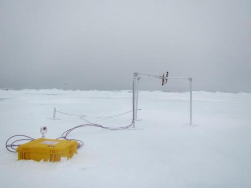 The Radiation Station set-up in the ice (photo by Mia Hansen).
