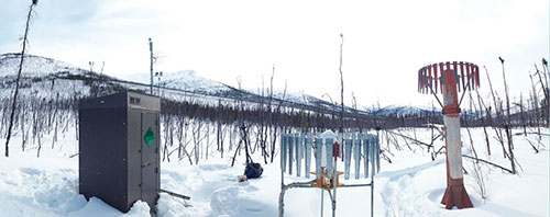 Monument Creek SNOTEL site, located within one of Bennett's four model watersheds, the Chena River basin. She uses data collected from the site to validate against remotely sensed data and models. (Photo by C. Johnson)