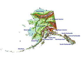 "Climate division boundaries over Alaska topography, with division names (Bieniek et al., 2012). Black dots indicate locations of Alaska stations used in the cluster analysis. ""Interior"" Alaska actually has three distinctive climate regions—Northeast Interior, Central Interior, and Southeast Interior, as shown here."