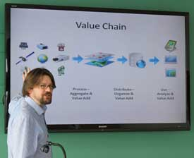 Cunningham demonstrates the Value Chain concept—in this case, how to turn data into something useful.