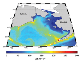 """Climatology (1999-2009) of primary production in the upper 100 meters of the Bering Sea, as simulated by the BEST-NPZ model. Note the well-defined area of high production (""""Green Belt"""") along the shelf break."""