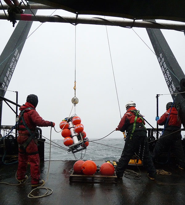 Researchers deploy moorings for physical, chemical, and biological data for the Chukchi Sea project. (Photo by Peter Shipton)
