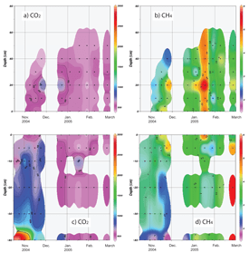 Temporal variations of CO2 and CH4 concentrations in snowpack above the surface (a and b) and in soil (c and d). Colors indicate level of concentration (highest level, red; lowest, pink). Vertically empty column indicates no observation, due to severe conditions; horizontally empty row denotes no data owing to the frozen soil, which has no pore space.