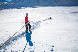Liljedahl (left) works with her colleague to install stakes for measuring glacier melt on the Jarvis Glacier. (UAF photo by Todd Paris)