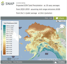Interactive tools on the SNAP website are helpful for exploring climate projections under a variety of scenarios for Alaska and western Canada.