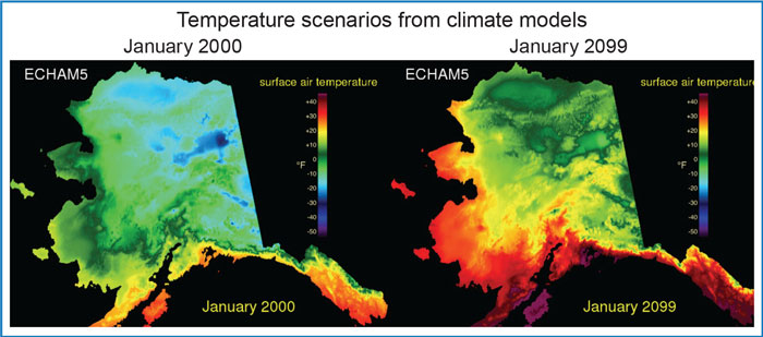 Downscaled Alaskan temperatures for January 2000 and January 2099 from a climate model, as produced by Scenarios Network for Alaska and Arctic Planning (SNAP).