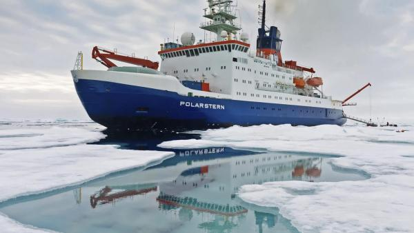 The German research icebreaker RV Polarstern will transport the MOSAiC expedition through the central Arctic Ocean as it drifts past the North Pole towards the Atlantic Ocean while trapped in sea ice. Photo credit, Alfred Wegener Institut/Mario Hoppmann.