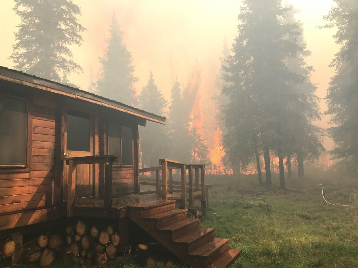cabin and wildfire