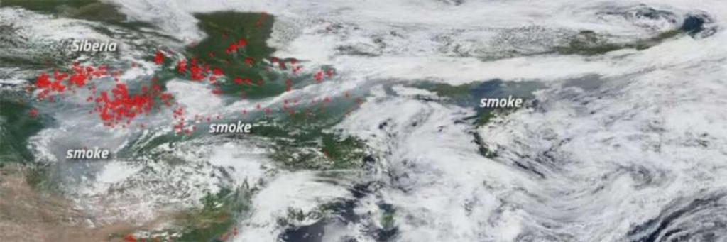 satellite image of smoke over alaska