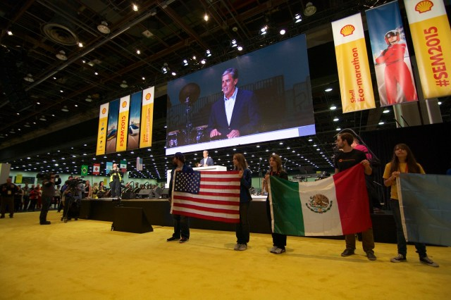 Marvin Odum, President of Shell opened SEMA2015 with a speech.