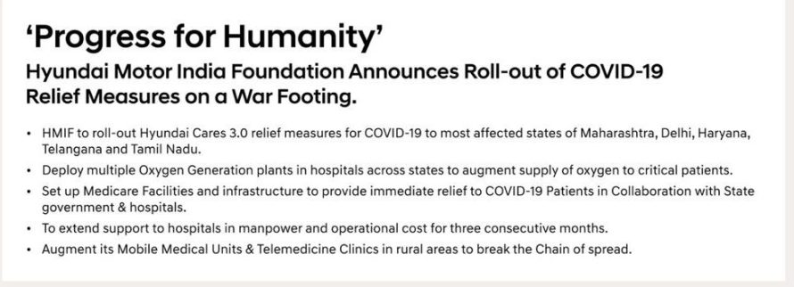 Hyundai Motor India Foundation Announces Roll-out of COVID-19 Relief Measures on a War Footing basis.