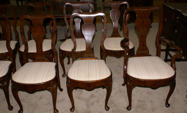 Set Of 10 Queen Anne Burl Walnut Antique Dining Room Chairs
