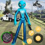 New Spider Stickman Rope Hero Shooting Crime 2020 v 1.0 hack mod apk (Coin / Gems)