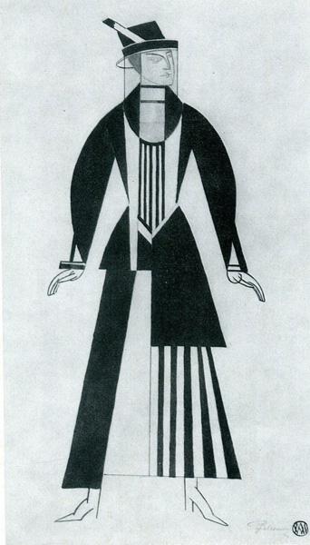 """Вадим Меллер - Ескіз костюма жінки до вистави """"Газ"""" Г.Кайзера, 1923"""