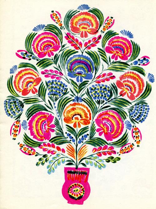 """Надія Білокінь - Декоративний розпис """"Гвоздики та мітлички"""", 63Х50, 1960 рік"""