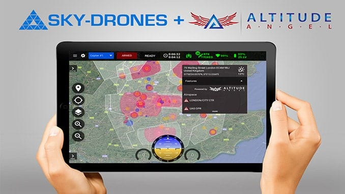 Sky-Drones partners with Altitude Angel and integrates airspace services in SmartAP GCS