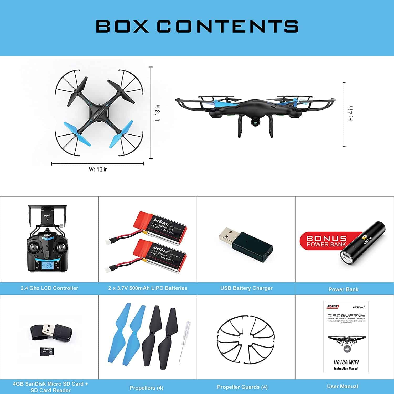 Top 16 Cheap Drones Under 180 Uav Coach 2018 Buying Guide Basic Quadcopter Wiring Diagram Manual U45 Blue Jay Wifi Fpv Drone