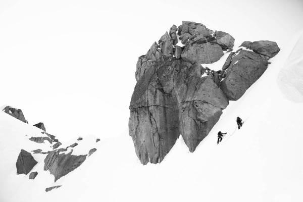 Alpinistes Proches Du Sommet De L'Aiguille Verte