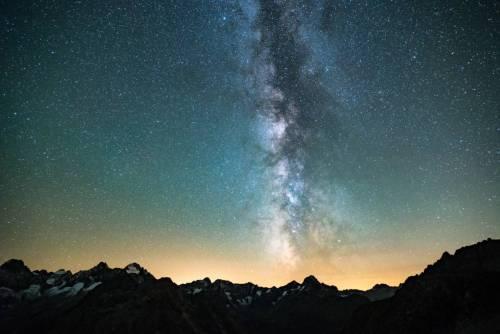 Voie Lactée Au Dessus Des Écrins Depuis Le Refuge Du Soreiller