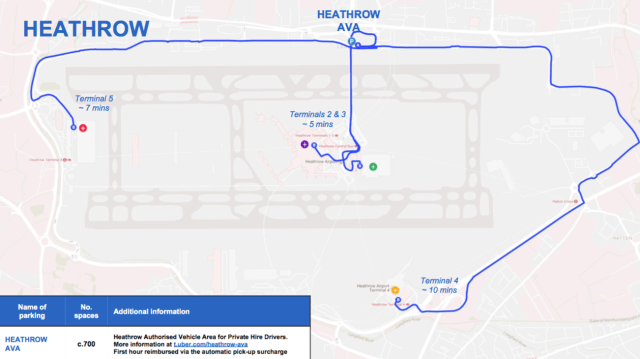 Uber designated spots at Heathrow Airport