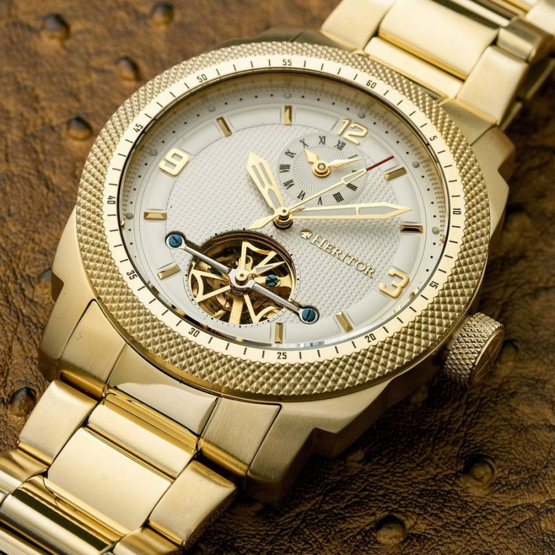Gold Heritor Automatic Helmsley Semi-Skeleton Watch