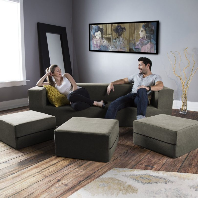 Jaxx Distressed Cotton Modular Sleeper Sofa & Ottomans