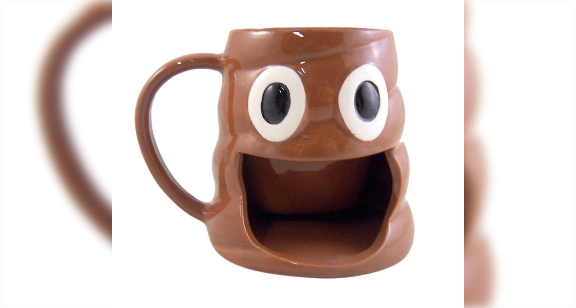 Poop Emoji Coffee Mug with Cookie Holder