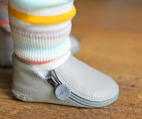 Buku Zip-Up Leather Baby Shoes