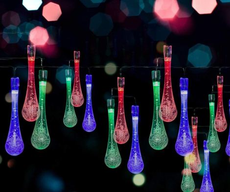 Solar LED Water Drop String Lights