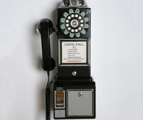 Crosley 1950's Retro Black Payphone