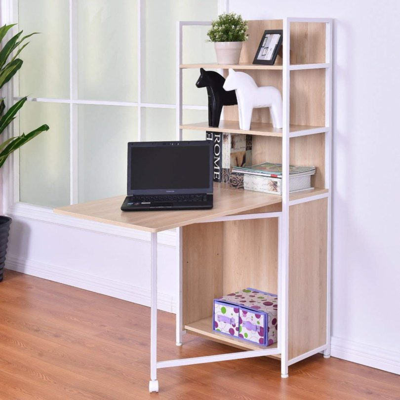 Tangkula Convertible Desk Wood Folding Cabinet Laptop Computer Desk with Shelf