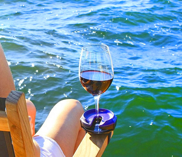 Outdoor Wine Glass Holder Straps Drink To Armrest To Prevent Spills