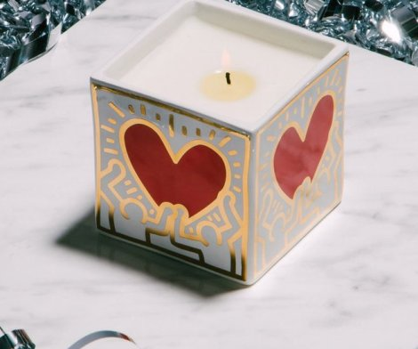 Keith Haring Red Heart With Gold Candle