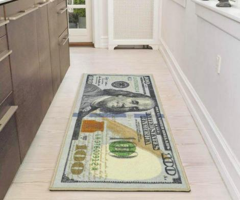 Giant 100 Dollar Bill Rug