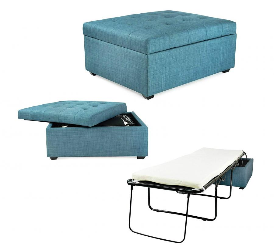 Convertible Ottoman Turns Into a Hideaway Guest Bed