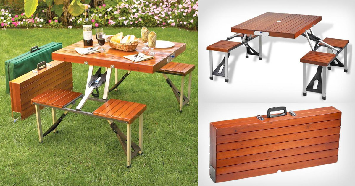 Briefcase Wooden Picnic Table